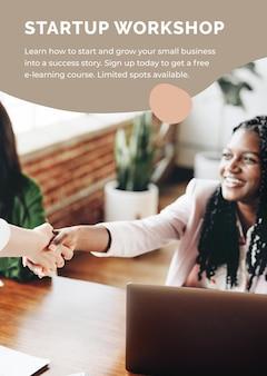 Postervorlage für startup-workshops für kleine unternehmen