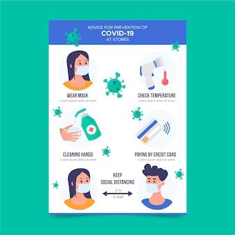 Postervorlage zur coronavirus-prävention für geschäfte