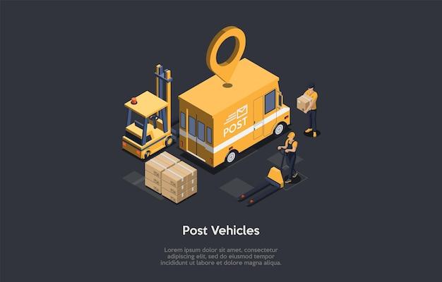 Postfahrzeuge, pakettransportkonzept. ortsmarke über dem postfahrzeug. der kurier und der lader transportieren kisten mit einem hydraulischen wagen in den lkw.