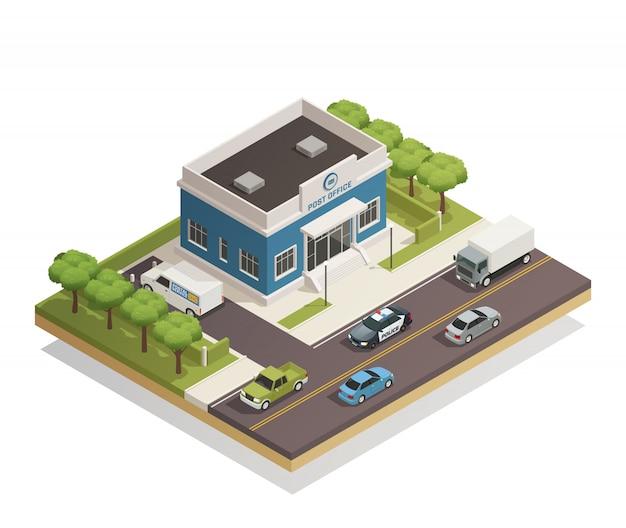 Postgebäude im freien isometrisch