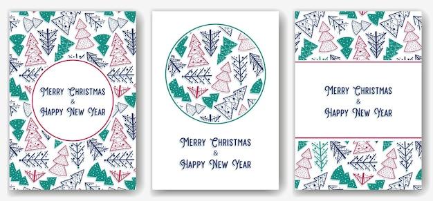 Postkarte des weihnachtswaldes für neujahrsfeiertage