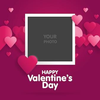 Postkarte happy valentines day mit einer leeren vorlage für foto