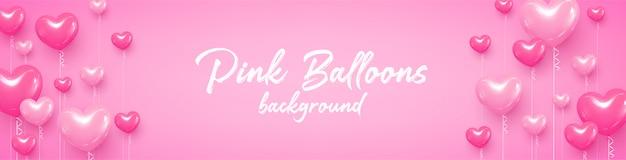 Postkarte herzlichen glückwunsch ballons hearts pink