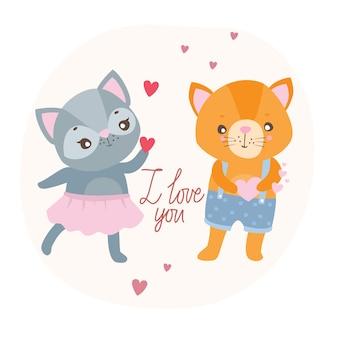 Postkarte ich liebe dich mit katzen
