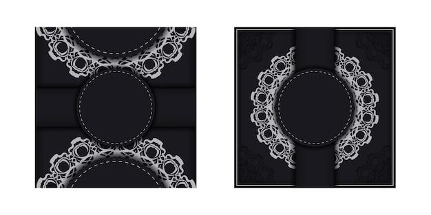 Postkarte im schwarzen mit abstraktem muster vorbereitet für typografie.