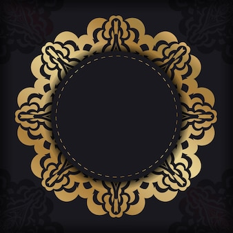 Postkarte in dunkler farbe mit goldenem griechischem ornament