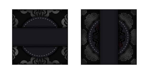 Postkarte in dunkler farbe mit silbernem luxusmuster