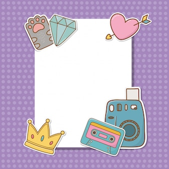Postkarte mit aufklebern kawaii