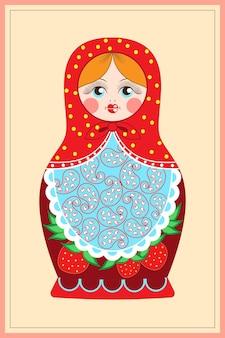 Postkarte mit dem bild einer matroschka-figur auf hellem hintergrund
