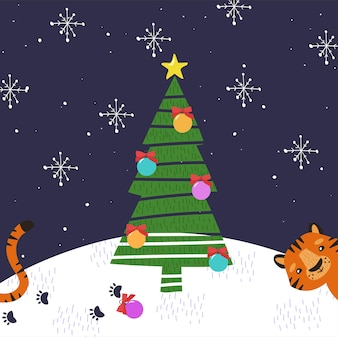 Postkarte mit einem süßen tiger. frohe weihnachten.