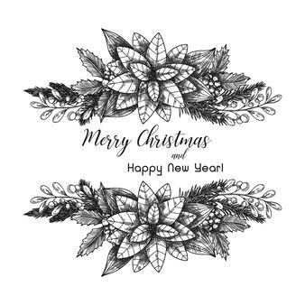 Postkarte mit einer weihnachtspflanze. weihnachtsstern. skizzenvektor