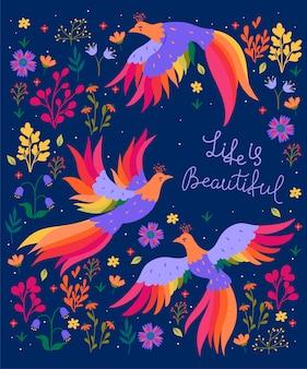 Postkarte mit fantastischen vögeln und blumen