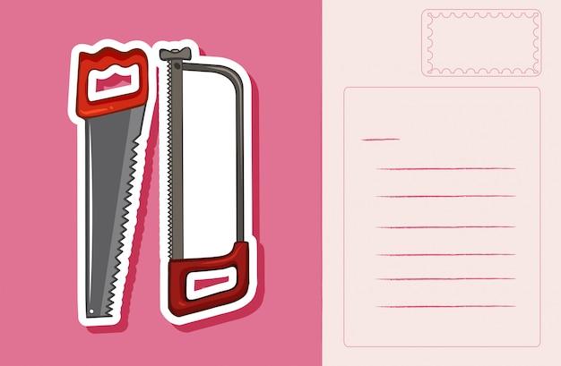 Postkarte mit handsägen auf rosa