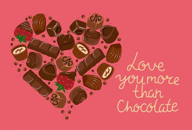 Postkarte mit herz aus schokolade und der aufschrift ich liebe dich mehr als schokolade. vektorgrafiken.