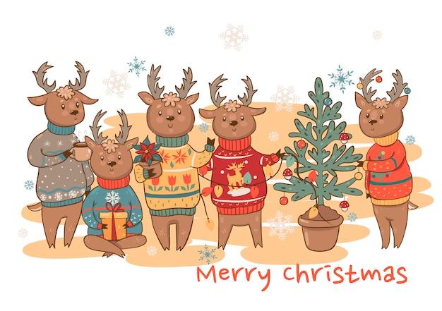 Postkarte mit niedlicher hirschfamilie in pullovern. frohe weihnachten gruß