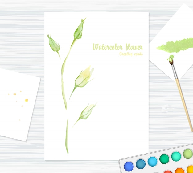 Postkarte mit schöner aquarellblume - rose