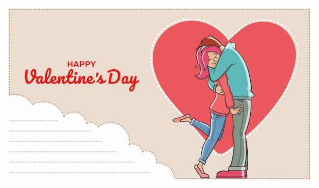 Postkarte mit textfeld und liebendem mann, der eine frau umarmt. valentinstag.