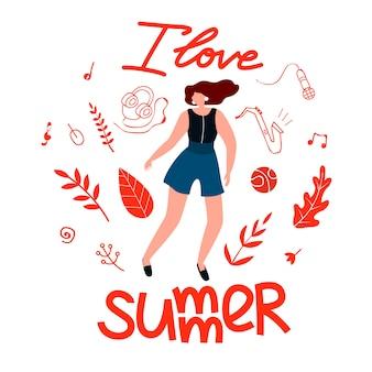 Postkarte urlaub für mädchen ich liebe sommer, cartoon