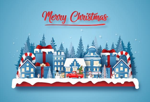 Postkarte weihnachtsfeier in der stadt mit santa claus und niedlichen charakter