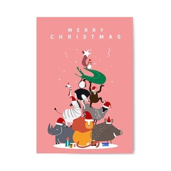 Postkarten-designvektor der frohen weihnachten