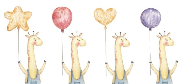 Postkarten mit süßer giraffe mit luftballons, süße kindliche aquarellillustration auf weißem hintergrund