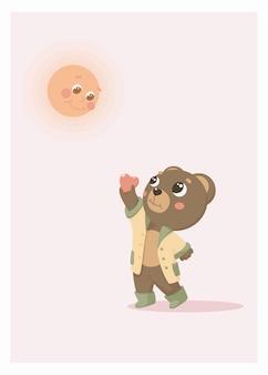 Postkarten-teddybär gibt der sonne einen herz-valentinsgruß.