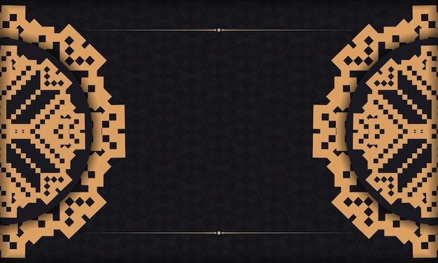 Postkartendesign mit luxuriösen mustern. schwarzes banner mit slowenischen ornamenten und platz für ihren text und ihr logo.