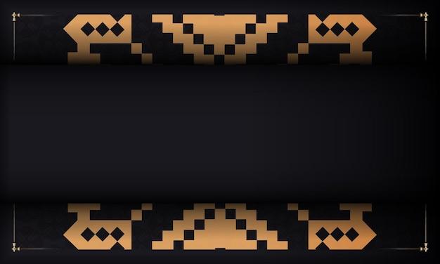 Postkartendesign mit luxuriösen mustern. schwarzes vorlagenbanner mit slowenischen ornamenten und platz für ihr logo.