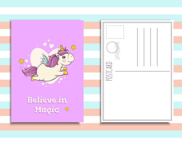 Postkarteneinladungsschablone mit süßem einhorn, glaube an magie