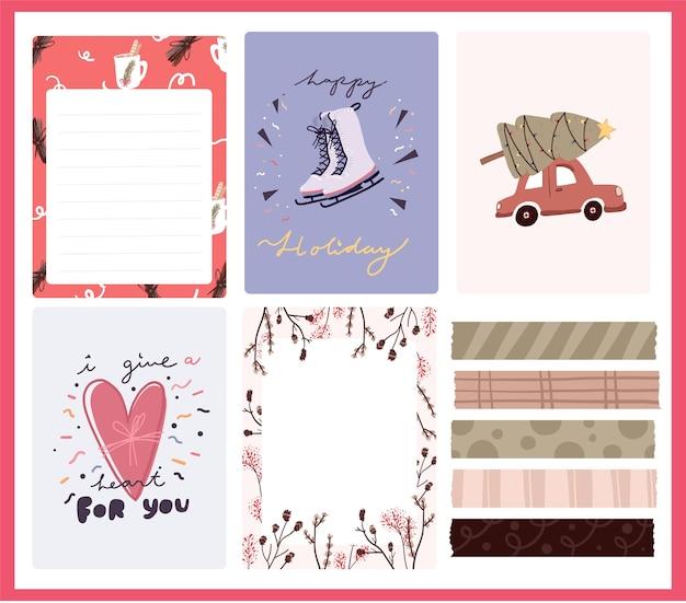 Postkartenmuster niedlichen aufkleberentwurf