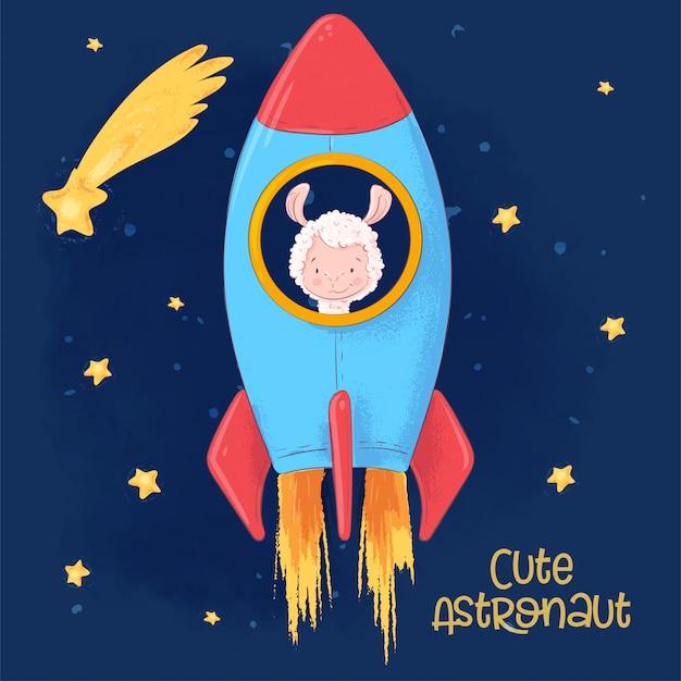 Postkartenplakat eines niedlichen lamas auf einer rakete. cartoon-stil.