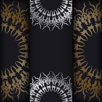 Postkartenschablone in schwarzer farbe mit goldenem abstraktem ornament