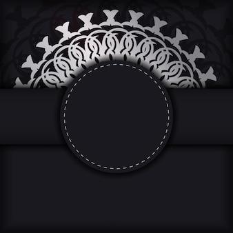 Postkartenschablone in schwarzer farbe mit mandala-ornament
