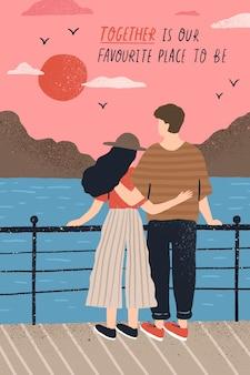 Postkartenschablone mit entzückendem paar in der liebe, die auf böschung steht und sonnenuntergang und romantisches zitat beobachtet. junger mann und frau am datum. flache karikaturvektorillustration für st.