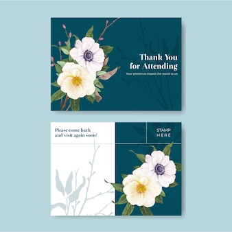 Postkartenschablone mit lila violettem hochzeitskonzept, aquarellart
