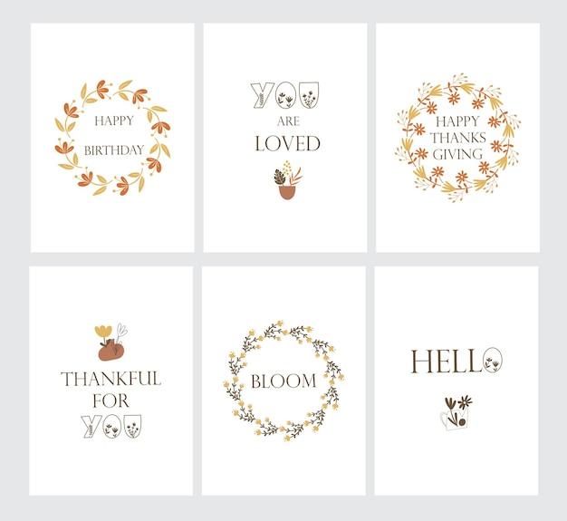 Postkartenset mit floralen elementen und grußzitaten. vektor-illustration.