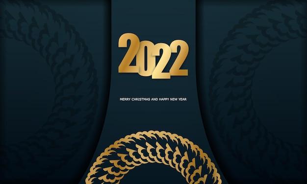 Postkartenvorlage 2022 frohe weihnachten dunkelblau mit winter gold ornament