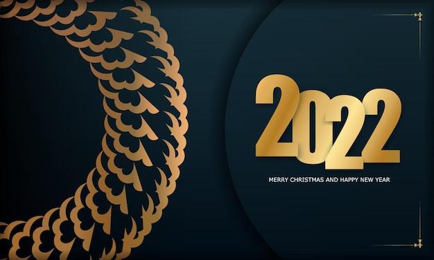 Postkartenvorlage 2022 frohes neues jahr dunkelblau mit luxuriösem goldmuster