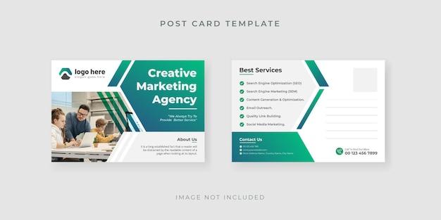 Postkartenvorlage für marketingagentur mit kreativem design premium-vektor