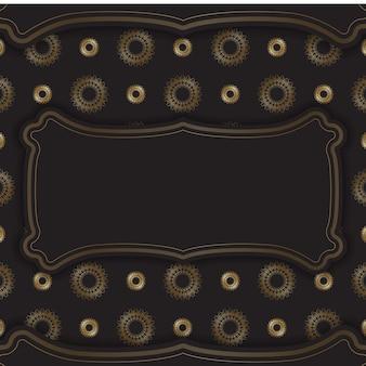 Postkartenvorlage in schwarzer farbe mit goldenem vintage-muster