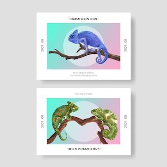 Postkartenvorlage mit chamäleon-eidechse im aquarell-stil