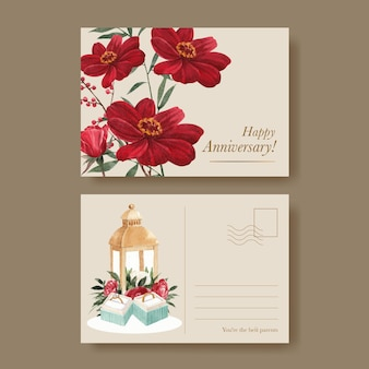Postkartenvorlage mit rotem marinehochzeitskonzept, aquarellstil