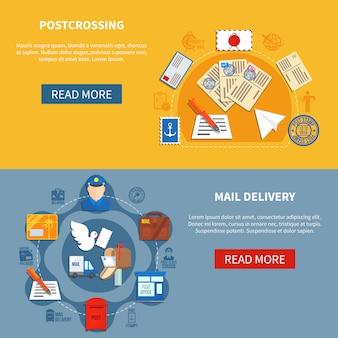 Postkommunikations-bunte fahnen