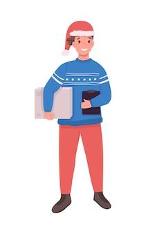 Postkurier auf weihnachten flachen farbcharakter. postbote in weihnachtsmütze. schnelle neujahrspaketzustellung isolierte karikaturillustration für webgrafikdesign und -animation