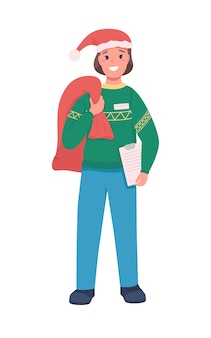 Postkurier mit flachem farbcharakter des weihnachtsmannsacks. träger mit weihnachtsgeschenktüte. festliche feiertagslieferung isolierte karikaturillustration für webgrafikdesign und -animation Premium Vektoren
