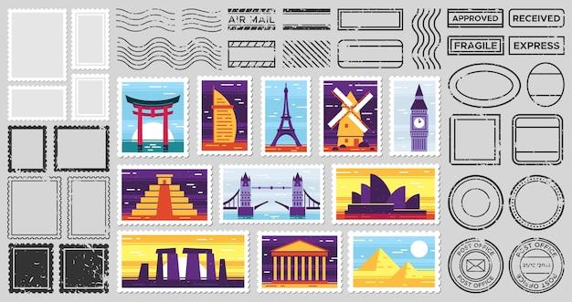 Postpoststempel für reisende. stadtattraktionen postkarte, zerbrechliche briefmarke und briefrahmen