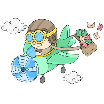 Postversand per flugzeug. cartoon illustration aufkleber emoticon