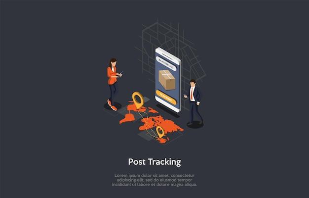 Postzustelldienst, paketverfolgungskonzept. tracking-nummer auf einem smartphone-bildschirm, karte mit ortsmarkierungen. menschen verfolgen die pakete mit geräten und internet.