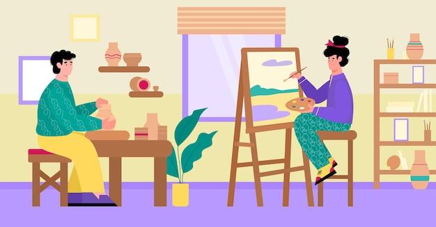 Potter und künstler verbringen zeit mit hobbys flache cartoon-vektor-illustration