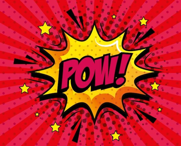 Pow ausdruck mit explosion pop-art-stil